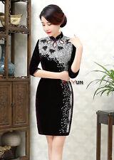 New purple Chinese women's Beading velvet evening mini Dress/Cheong-sam 6-16