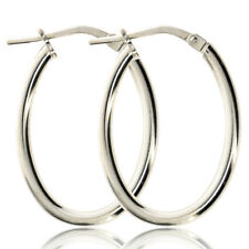 Plain Oval Creole Hoop Earrings - 18mm X 25mm - 925 Sterling Silver - Supplied in Free Gift Box/Gift Bag qW2PFWY