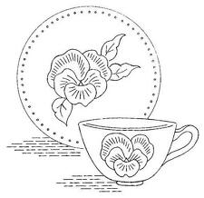Dishes with Pansies for Tea Towels 912 Hand Embroidery 6 designs Tea Pot Cup