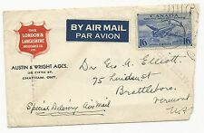 Canada Scott #CE1 on Trade Cover Special Delivery Air Mail 1943 Insurance Co.
