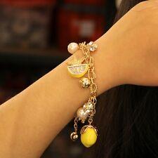 Bracelet Femme Citron Jaune Fruits Cristal Original Soirée Mariage Cadeau CT2