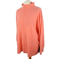 NEW BNWT £99 M&S Size L 16 18 Salmon Pink Pure 100% Cashmere Jumper Funnel Neck