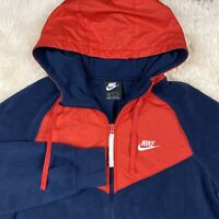 Vintage Nike Fleece Hoodie Windrunner Color Block Red White Blue S Small EUC