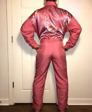 Vtg 80s Pink ETIREL One piece SKI SUIT Snow Bib retro Snowsuit WOMENS LARGE 38