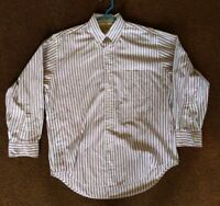 LL Bean Men's Large Red Striped Single Needle Long Sleeve Button Down Shirt