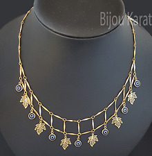 Nazar Boncuk Halskette Kette Bettelkette 18 Karat Gold GP Kolye Evil Eye Blätter
