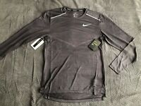 Nike TechKnit Ultra Men's Long Sleeve Running Top Black/Grey Size M Brand New!