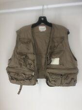 Men's Fly Fishing Vest Zip Up Khaki , Large