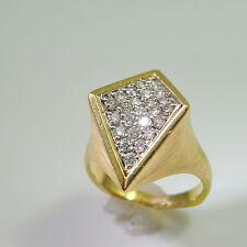 Pave Modernist 1970s Diamond 18K Ring Mid Century Unisex Retro 1950s 1960s Fine