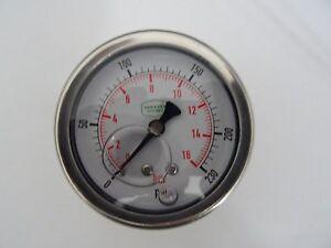 """0-230 psi 63 mm Glycerine Filled Pressure Gauge 1/4"""" Back Entry"""