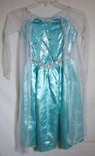 Disney Elsa Costume Dress FROZEN Long Sparkle Satin Tulle LOVELY Child Small 4-6