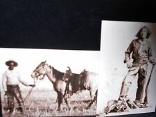 2 vintage photo postcards black cowboys Nat Love, Cowboy and horse ca. 1880