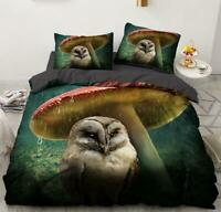 3D Raining Mushroom Owl KEP5234 Bed Pillowcases Quilt Duvet Cover Kay