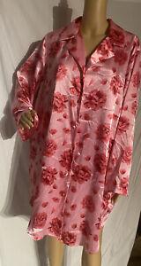 Cacique Satin Sleepshirt Nightgown Floral Print Pink 18/20