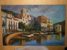 Grand tableau Huile sur Toile GENOVA Italie Marine Port de Pêche signé BLANCHARD