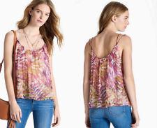 Lucky Brand Mujer Estampado de Palmeras Correa Doble Camiseta tirantes Blusa