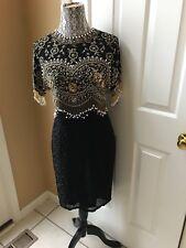 Vintage Oleg Cassini Black Tie Silk Fringe Flapper Faux Pearl Dress Fits Size M