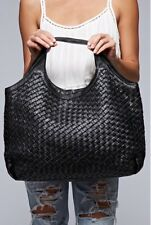 Love Stitch Leather Woven Black Tote Handbag