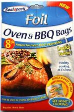 8 Pack FOIL CIBO SACCHETTI FORNO BARBECUE GRIGLIE GRILL carne pollo pesce sigillo COTTURA