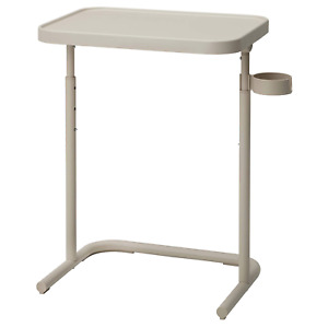 Overbed Table Adjustable Height Laptop Study Table Bedside coffee holder/ Beige
