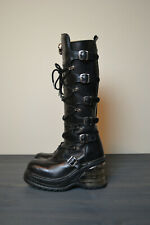 ea26b5aa419 Women s New Rock Punk Platform Wedge Buckle Boots With Lace Up Accents