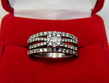 Diamond Cluster Flower Wedding Band Bridal Ring Set 14k White Gold Sz 7.5 Used