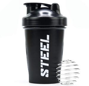 STEEL Supplements, Pre-Workout Protein Shaker Bottle 12 Oz + 1fl. Oz Sanitizer