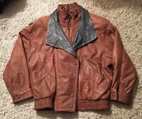 Wilsons Leather Mens ADVENTURE BOMBER Brown Leather Jacket Size M