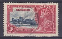 DB350) St. Vincent 1935 Jubilee 1d deep blue & scarlet SG 142 with variety