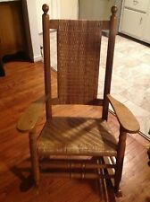 Antique Rocking Chair Rocker Armchair Woven Rush Mission Rustic Traditional Wood