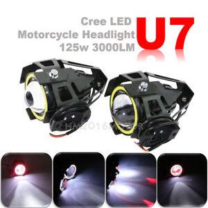 HMmotor 2x U7 Angel Devil Eye Light 125W Motorcycle LED Fog Spotlight HeadLight