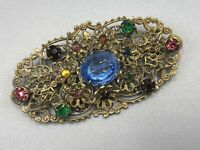 Vintage Czech Brooch Oval Filigree Gold Tone Multicoloured Rhinestones Glass Pin
