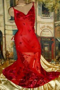 M L Victoria's Secret Long Red Silk Gown Dress Burnout Velvet Chiffon