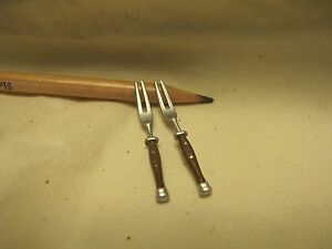 U016 Dollhouse Silver Wood Handle Meat/Grilled Snail Fork Miniature re-ment1:12