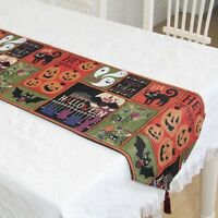 Halloween Pumpkins & Black Cats Tapestry Table Runner Tablecloth Placemat Decor