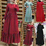 Women Muslim Dubai Kaftan Robe Loose Long Maxi Dress Polka Dots Shirt Dress Plus
