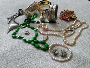 vintage jewellery lot spare & repair broken craft pendant bangles necklaces bead