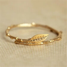 Charm Simple 18k Gold Filled leaf Jewelry Wedding Engagement Party Ring Sz 5-10