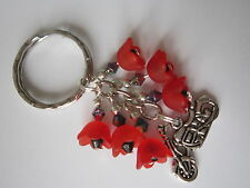 Keyring / Bag Charm - Motorbike & Red Lucite Poppy Flowers