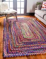 Rug Braided Rectangle Chindi  Cotton Area Rag Floor Mats Woven Rug Runner Rug
