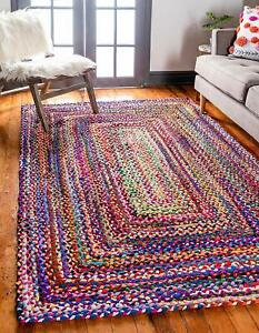 Rug Braided Rectangle Chindi Cotton Area Rag Floor Mats Woven Rug Runner Rug