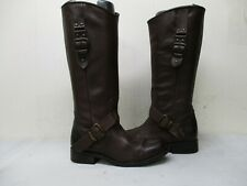 STEVEN by Steve Madden Triger Brown Leather Zip Knee High Boots Womens Sz 6.5 M
