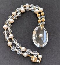 Antique Victorian Rock Crystal & Pearl 14ct Gold Pendant Necklace