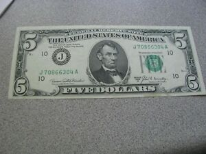 1969 B $5 Federal Reserve Note - GREEN SEAL -  VERY NICE