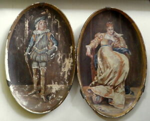 Antique Signed Pair of  Hand painted Oval oil painting wall hangings of Couple