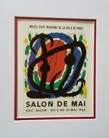 Joan Miro Salon De Mai Exhibition Poster Print Matted Offset Lithograph 1980