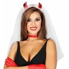 Cuernos del diablo con velo blanco vestido elaborado Halloween Hen Noche