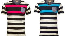 Cotton V Neck Basic Striped T-Shirts for Men