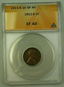 1911-S Lincoln Wheat Cent 1c ANACS EF-40 (D) (WW)