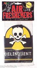 "Vintage 1990's ""Delinquent"" Skull Funny Gag Gift Hanging Air Freshener"